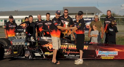 Pontiac dragster driven by Kevin Swaney wins the 2012 Norwalk KRE Quick 16