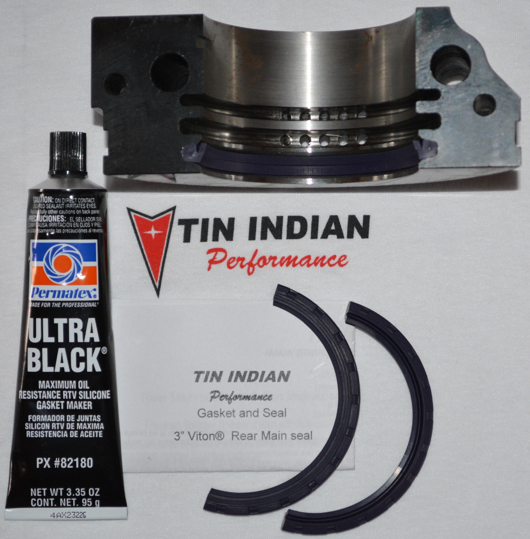 Pontiac rear main seal kit TIP-RM300 with Permatex Ultra Black RTV Silicone