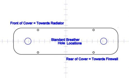 Breather hole locations on Billet-TEK Pontiac Valve Covers