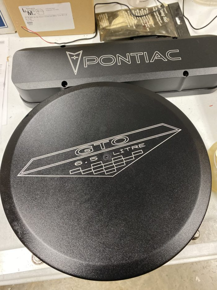 Powder Coated GTO emblem logo air cleaner lid and Pontiac Logo Valve cover
