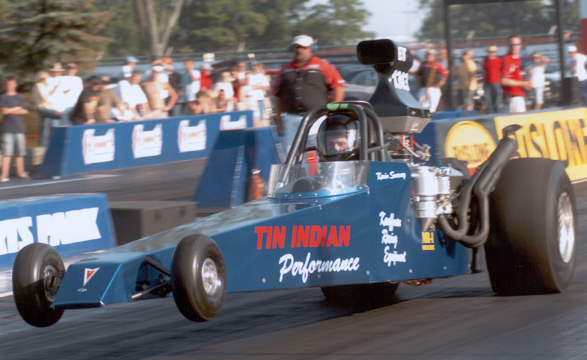 Tin Indian Performance Pontiac dragster wheels up launch at Norwalk