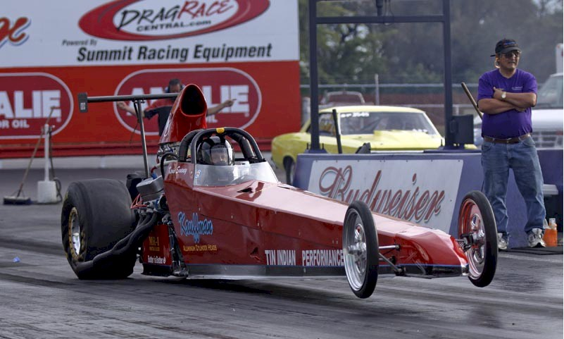 Tin Indian Performance's Pontiac powered dragster 714 pass launch wheels up