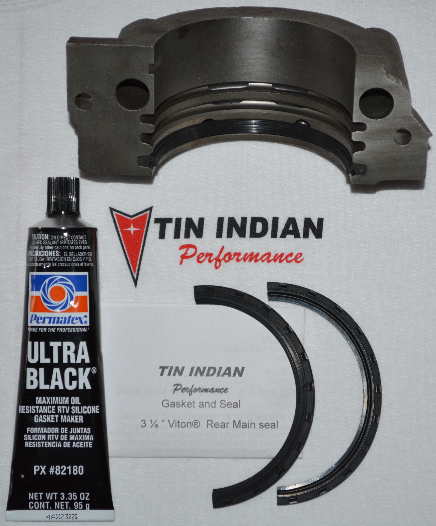 Pontiac rear main seal kit TIP-RM325 with Permatex Ultra Black RTV Silicone