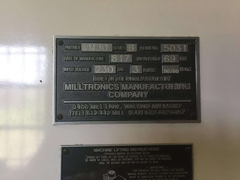 Milltronics VM30 Milling Center 9