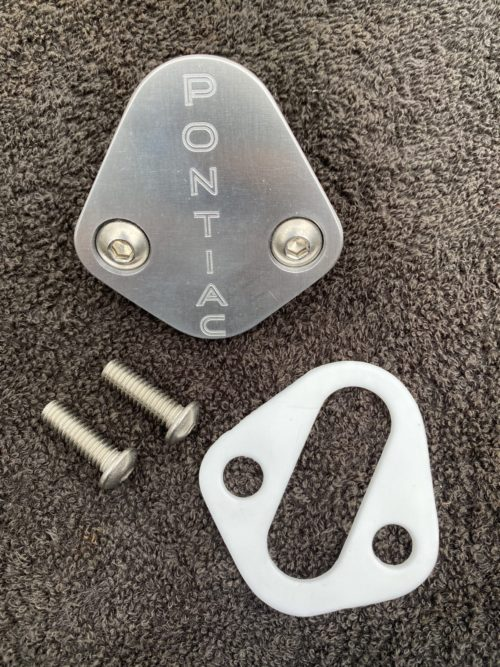 Pontiac block off plate with Pontiac words logo and Teflon gasket